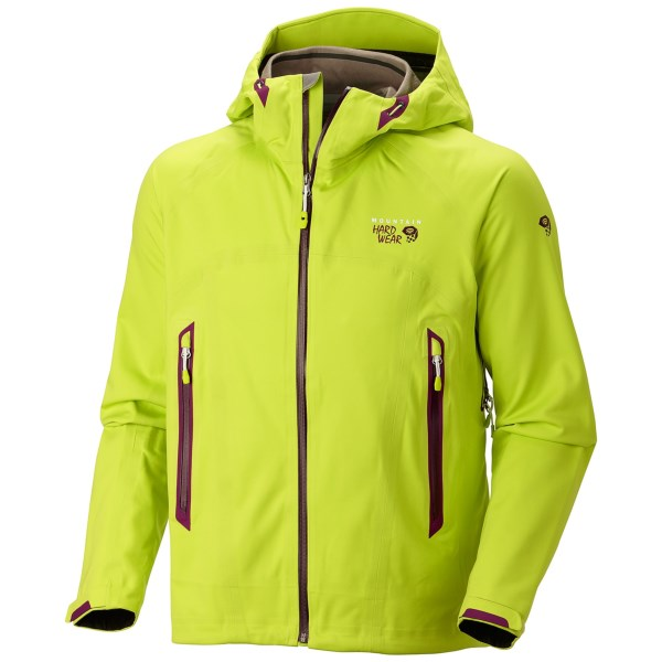 CLOSEOUTS . A veritable force against all things weather, Mountain Hardwearand#39;s Trinity jacket features the waterproof breathable protection of Dry.Q(R) Core technology and a soft shell exterior that protects against mountain winds. Available Colors: BLACK, CAPRIS, ACID GREEN, CHERRY BOMB, BLACK, SHERWOOD, STATE ORANGE. Sizes: S, M, L, XL, 2XL, XS, 3XL.