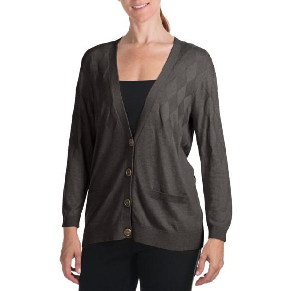 August Silk Argyle Cardigan Sweater - V-Neck, 3/4 Sleeve (For Women)