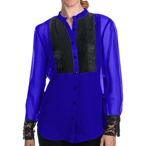 August Silk Tuxedo Bib Shirt - Long Sleeve (For Women)
