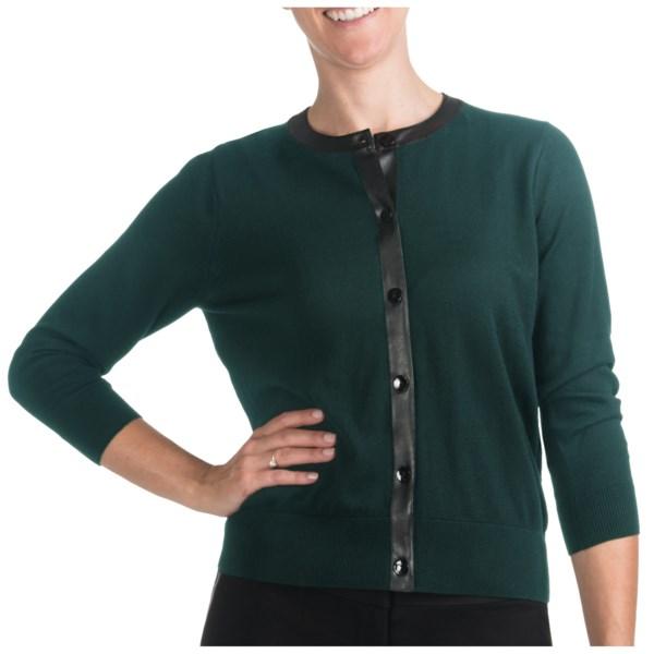 August Silk Pleather Trim Cardigan Sweater (for Women)