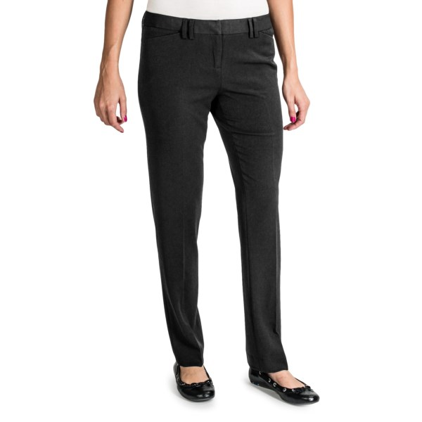 CLOSEOUTS . A chic and versatile must-have for work wear, Amanda   Chelseaand#39;s Poly Rich pants are tailored of wrinkle-resistant suiting fabric in a slim silhouette with a straight leg. Available Colors: BLACK, CHARCOAL, BROWN. Sizes: 2, 4, 6, 8, 10, 12, 14.