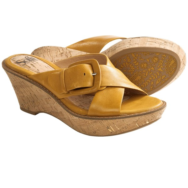 CLOSEOUTS . Buttery smooth leather and an amply cushioned footbed make Sofftand#39;s Balere sandals an absolute treat for weary feet, styled with a criss-cross upper and cork-wrapped wedge heel. Available Colors: OCHRE YELLOW, TURQUOISE. Sizes: 6, 6.5, 7, 7.5, 8.5, 9, 9.5, 10, 11.
