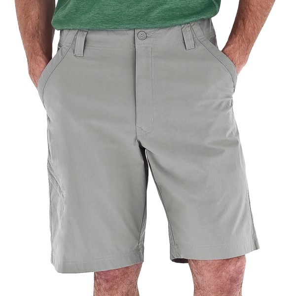 CLOSEOUTS . With stretchy, performance-rated UPF 50  nylon, an articulated, move-ready design and ample pocket space, itand#39;s no wonder Royal Robbinsand#39; Global Traveler shorts are an instant favorite for men on the go. Available Colors: CHARCOAL, KHAKI, EVERGLADE, LIGHT PEWTER, BURRO.