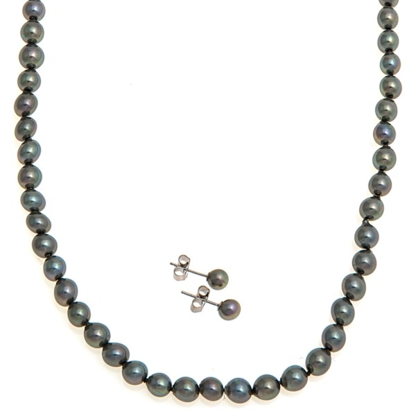 CLOSEOUTS . Lustrous 6mm organic pearls work their magic in this Joia de Majorca necklace and earring set, bringing an undeniable radiance to any outfit. Available Colors: BLACK/BLACK/RHODIUM, MULTI/ORO GOLD/RHODIUM, WHITE/WHITE/RHODIUM.