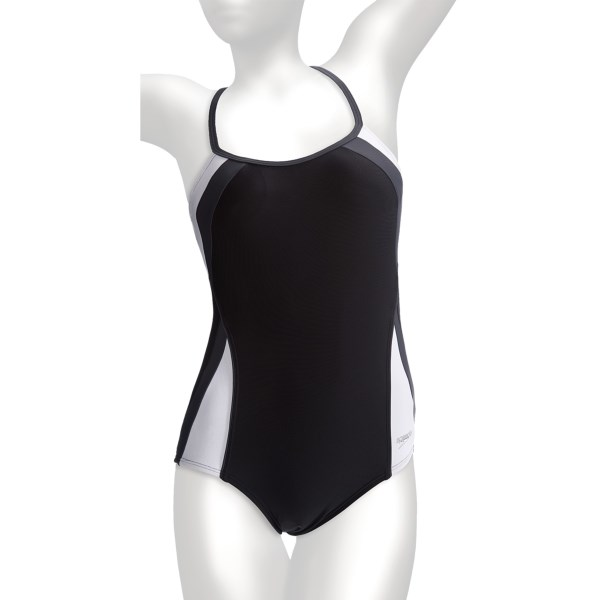 CLOSEOUTS . Speedoand#39;s Fitness Spiral Splice swimsuit has a built-in Hydro Bra for high-impact support, and its contemporary styling features tricolor fabric insets for a slimming effect. Available Colors: BLACK, ZINNIA, ULTRAVIOLET. Sizes: 3/4, 5/6, 7/8, 9/10, 11/12, 13/14, 0, 1/2.