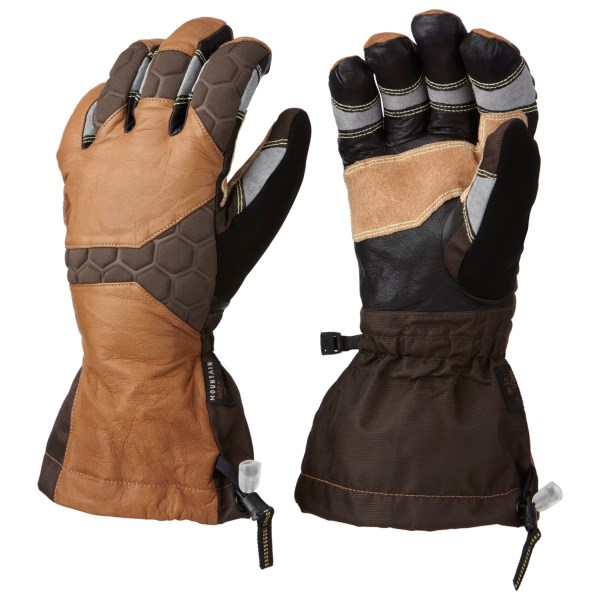 CLOSEOUTS . Mountain Hardwear Boldog gloves offer superior warmth, dryness and an outstanding fit for backcountry and lift-serviced skiers. The shell features water-resistant goat leather construction, Kevlarand#174; stitching at the precurved fingers and palm, and OutDryand#174; waterproof breathable technology. Available Colors: MORRELL, BLACK, INCA GOLD. Sizes: S, M, L, XL, 2XL, XS.