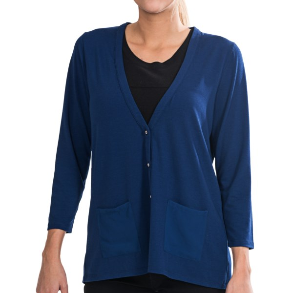 August Silk Soft Knit Cardigan Sweater - V-Neck, 3/4 Sleeve (For Women)