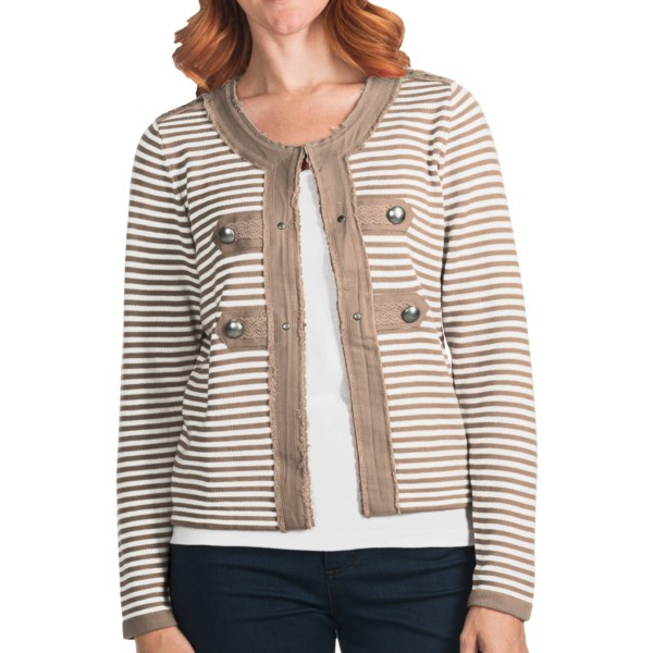 CLOSEOUTS . Raw-edge, solid-color twill adorned with cool studs and bold buttons trims the soft, stripy knit of FDJ French Dressingand#39;s cardigan sweater, creating a funky almost-military-inspired style with an artisan appeal. Available Colors: LIPSTICK, SANDY. Sizes: XS, S, M, L, XL, 2XL.