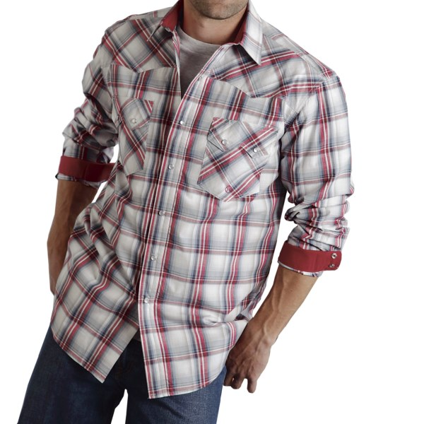 CLOSEOUTS . Roperand#39;s Amarillo Plaid shirt is a western classic in woven cotton with pearlized snaps and pointed yokes. Available Colors: BLUE SAIL PLAID, BROWN BAY PLAID, VALLEY SET SAIL, BLUE MESA OMBRE, FIRE HOUSE RED STONE, VALLEY PLAID. Sizes: S, M, L, XL, 2XL, 3XL.