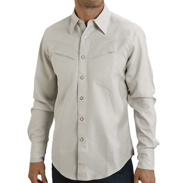 CLOSEOUTS . Stetsonand#39;s Garment-Washed Duck Solid shirt is the ultimate cowboy shirt. Itand#39;s tailored of durable cotton duck fabric and finished with diamond-shaped snaps, slant chest pockets and a western back yoke. Available Colors: WHITE, BROWN. Sizes: S, M, L, XL, 2XL, 3XL.