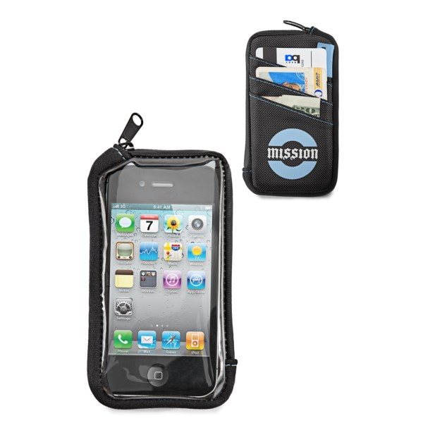CLOSEOUTS . Designed for the iPhoneand#174; 4 (and the slightly larger iPhoneand#174; 5 with a little finagling), Timbuk2and#39;s Mission Cycling smartphone wallet lets you text, access maps and other apps through the touch-screen compatible window, with slots for cards/cash in case you want to ditch your old wallet altogether. Available Colors: BLACK, CARBON/RIPSTOP, BLACK/MISSION CYCLING LOGO, ALGAE GREEN/GUNMETAL.