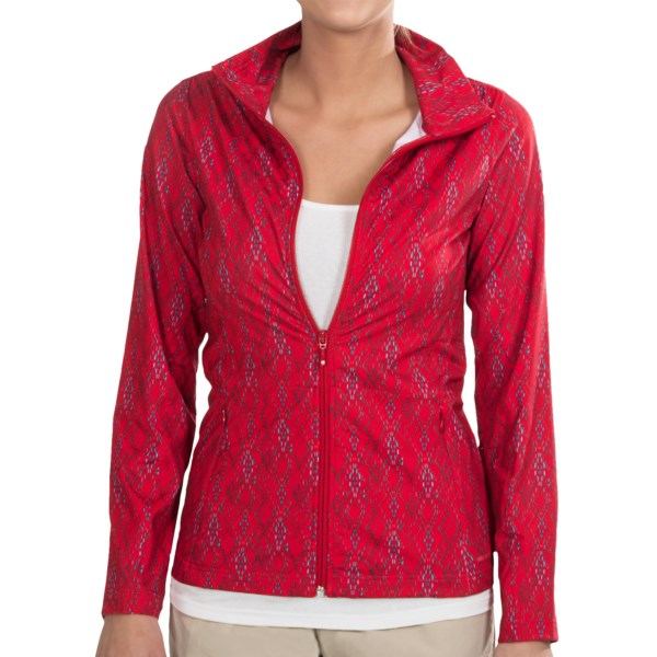 CLOSEOUTS . Lightweight and athletic, Merrelland#39;s Lauley jacket is a stretchy, wicking layer that moves with you from morning run to cheering on your team from the sidelines. Available Colors: BLACK PRINT, BLUE DEPTHS PRINT, CERISE PRINT, TOILE. Sizes: XS, S, M, L, XL.
