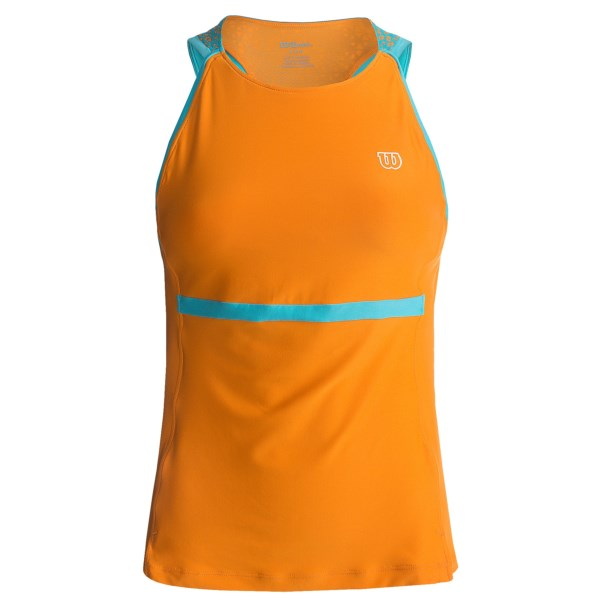 CLOSEOUTS . Wilsonand#39;s Up a Set Tank is as ready for game day as you are, with a wicking mesh back panel and full-support internal bra. With a movement-friendly racerback, itand#39;s sure not to interfere with that killer serve of yours. Available Colors: OCEANA, TUSCAN ORANGE. Sizes: XS, S, M, L, XL.