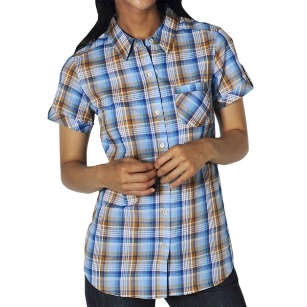 CLOSEOUTS . A cute, crisp plaid in a superlight, short sleeve design, ExOfficioand#39;s Kamili shirt provides summer-ready comfort with a cute patch pocket and a rounded hem for casual, untucked style. Available Colors: LAVENDER, MEDITERRANEAN. Sizes: XS, S, M, L, XL.