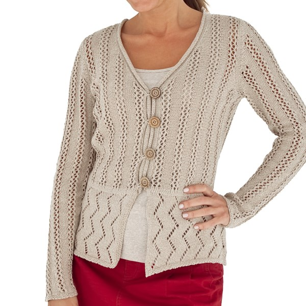 CLOSEOUTS . Royal Robbinsand#39; Traveler sweater adds pizazz to any basic top with pointelle stitching in two complementary patterns, a rolled neckline and four wooden buttons. Available Colors: CRÈME, CRYSTAL, ALOE, ROYAL BLUE, ROSEHIP, PHOSPHOROUS, POOL, CRYSTAL AQUA. Sizes: XS, S, M, L, XL.