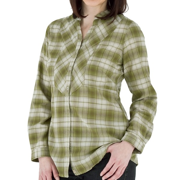 CLOSEOUTS . No scratchy flannel here! Royal Robbinsand#39; Prairie plaid shirt is made of a luxurious, brushed cotton blend for an instant softness and pretty drape, complete with a banded collar and unique front yoke. Available Colors: BEET, 272 ALOE. Sizes: XS, S, M, L, XL.