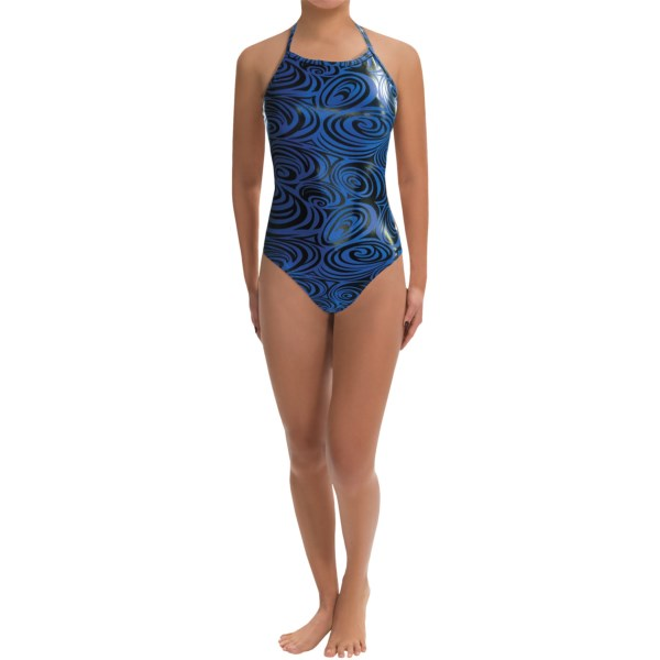 CLOSEOUTS . The party starts the second you hit the water in Dolfinand#39;s Disco competition swimsuit, fully lined inside and highlighted with bold metallic swirls outside. Available Colors: RUBY, SAPPHIRE, AMETHYST. Sizes: 22, 24, 26, 28, 30, 32, 34, 36, 38, 40.