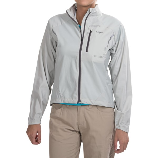 CLOSEOUTS . Weighing in at a scant 4 oz., the Outdoor Research Redline jacket packs in your pocket and offers unbelievable protection from light precipitation and wind -- perfect for early morning runs when youand#39;re working up a sweat but donand#39;t want to get chilled. Available Colors: PEWTER, HYDRO/POOL, POOL SMU, ALLOY SMU. Sizes: XS, S, M, L, XL, 2XL.