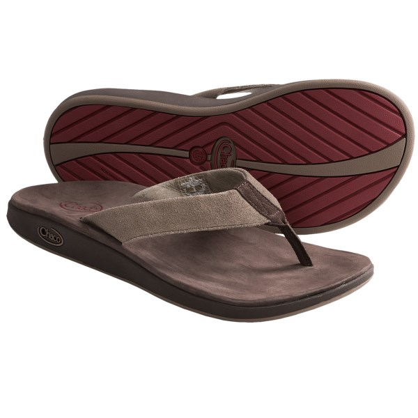 CLOSEOUTS . The flip-flop gets a Chaco-level upgrade in Chacoand#39;s Kolb sandals, featuring Chacoand#39;s anatomic LUVSEAT footbed and finished with soft, brushed leather. Available Colors: BLACK, CHOCOLATE BROWN, FOSSIL. Sizes: 7, 8, 9, 10, 11, 12, 13, 14, 15.