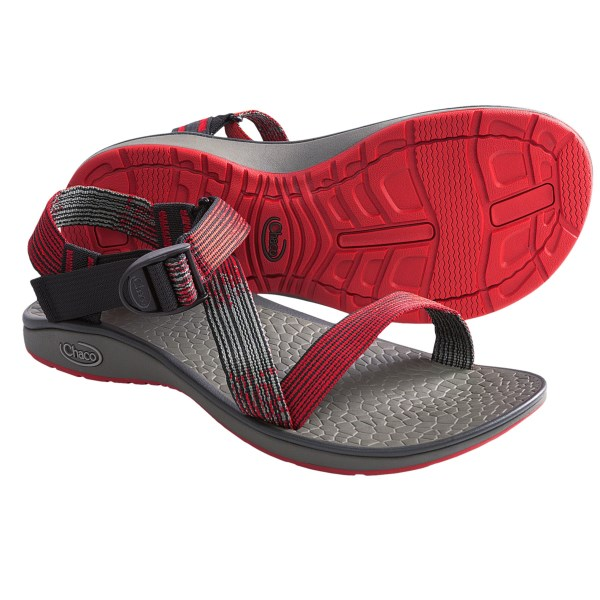 CLOSEOUTS . Superlight with an open-toe design and Chacoand#39;s low-profile siped outsole, Chaco Mighty sandals pack a powerful, adventure-ready punch in a minimalist-inspired style. Available Colors: DEEP DIVE BROWN, DEEP DIVE RED, PENCIL ART, SEEING GREEN, CASCADE, TRACKS BROWN, BLACK, MATRIX GREY, EDGY. Sizes: 7, 8, 9, 10, 11, 12, 13, 14, 15.