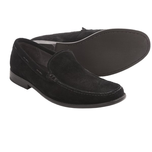 CLOSEOUTS . A sophisticated member of the John Varvatos gene pool, John Varvatos Star USAand#39;s Star Buck venetian shoes step out in sleek, handsome suede with a traditional loafer silhouette. Available Colors: BLACK CALF SUEDE, ESPRESSO CALF SUEDE. Sizes: 8, 8.5, 9, 9.5, 10, 10.5, 11, 11.5.