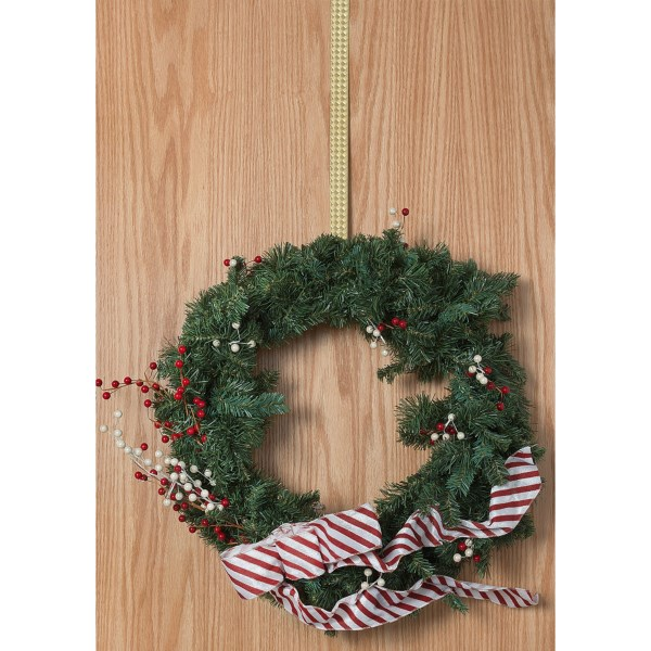 CLOSEOUTS . Your front-door decor will shine in any season with Conantand#39;s brass wreath hanger, fashioned in an elegant basket-weave pattern with opposing hooks that hang from the door top and support your wreath. Available Colors: BRASS.