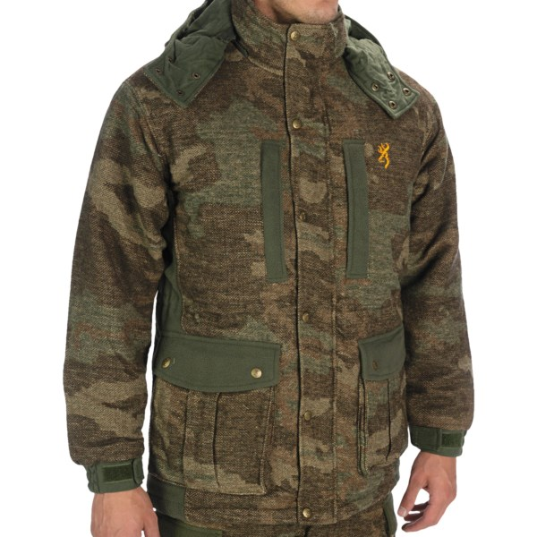 CLOSEOUTS . The 3-in-1 Browning Full Curl wool parka is made of a 7 oz. wool blend, with WindKill laminate for water resistance and wind protection. The zip-out vest features duck down insulation and adds versatility to this AllTerrain camouflage-patterned jacket. Available Colors: ALL TERRAIN. Sizes: S, M, L, XL.