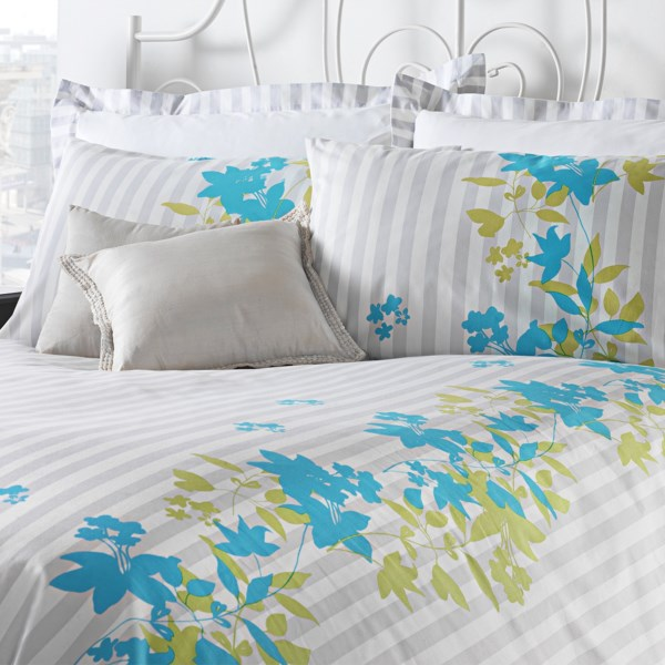 CLOSEOUTS . Against a background of crisp, smoke-grey stripes, the colorful floral tendril print on this Chortex Pippa duvet set makes a stand-out statement! The fabric is a super-smooth, 200 thread count cotton percale for bonus luxury. Available Colors: PIPPA. Sizes: TWIN.
