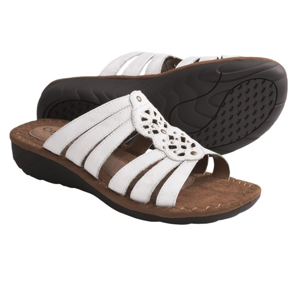 CLOSEOUTS . Handcrafted yet sophisticated, Cobb Hilland#39;s Gianna sandal is a mid-wedge slide with multi-strap beauty and a laser-cut center panel sprinkled with shiny rivets. Available Colors: BLACK, SAND, WHITE. Sizes: 6, 6.5, 7, 7.5, 8, 8.5, 9, 9.5, 10, 11.
