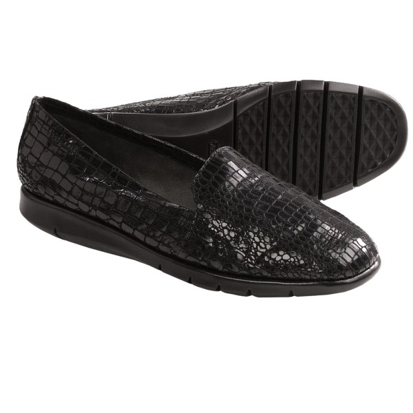 CLOSEOUTS . The exotic snake-print sheen adds a little pizazz to your workplace trousers, and the nicely cushioned footbed keeps you on your feet from morning to night. Aerosoles Army shoes have a classic slip-on profile and flexible rubber outsole. Available Colors: BLACK SNAKE PRINT, BROWN SNAKE PRINT. Sizes: 6, 6.5, 7, 7.5, 8, 8.5, 9, 9.5, 10.