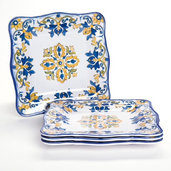 Overstock . More elegant than paper and perfect for outdoor or casual indoor dining, Le Cadeauxand#39;s Seville square dinner plates look like hand-painted pottery. Available Colors: WHITE.