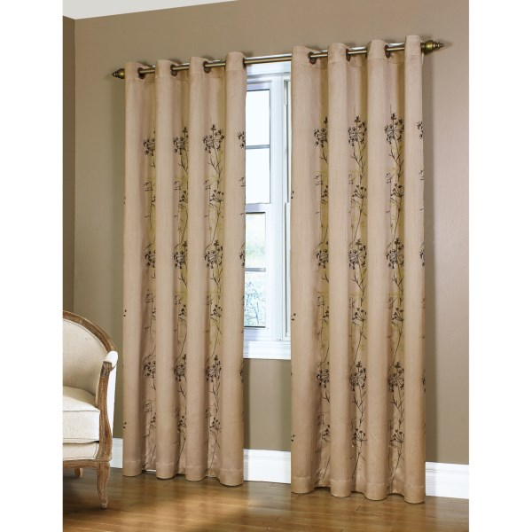CLOSEOUTS . Stretching floral embroidery in shades of rich brown and bright green climbs the slightly shimmery fabric of Habitatand#39;s Orient embroidered faux-silk curtains. Available Colors: TAUPE. Sizes: 84.
