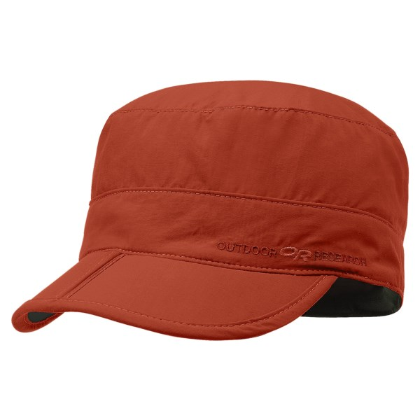 CLOSEOUTS . Offering built-in sun protection and a military-inspired, flat-top design, the Outdoor Research Radar pocket hat is a versatile choice for hiking, camping and casual wear. Available Colors: CROCUS, DIABLO, WALNUT PLAID, GLACIER, TRUE BLUE, CROCUS CHECK. Sizes: S, M, L, XL, XS, 2XL.