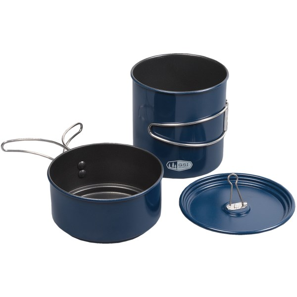 CLOSEOUTS . Made of tough, lightweight aluminum with a nonstick coating, the GSI Outdoors Double Boiler set is a thermally efficient choice for climbers, campers and backpackers. Available Colors: SEE PHOTO.