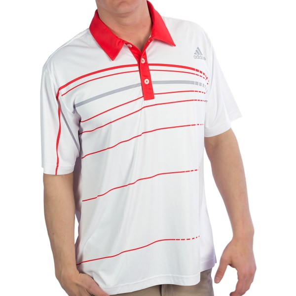 CLOSEOUTS . Adidasand#39; Golf PGA polo shirt is crafted of smooth, moisture-wicking performance-knit fabric and tailored for the pros. Available Colors: PUNCH/UNIVERSITY RED/WHITE, UNIVERSITY RED/PUNCH/CHROME, WHITE/BLACK/PUNCH, WHITE/PUNCH/CHROME. Sizes: S, M, L, XL, 2XL.