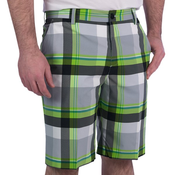 CLOSEOUTS . The woven fabric of Adidasand#39; Golf Climaliteand#174; plaid shorts is unbelievably lightweight, adding moisture-wicking and cool comfort to your day in the sun. Available Colors: CHROME/WHITE/BLACK/GARDENA, NAVY/WHITE/ULTRAMARINE/CRISP, CHROME/WHITE/SKYLINE/BLUEBONNET.
