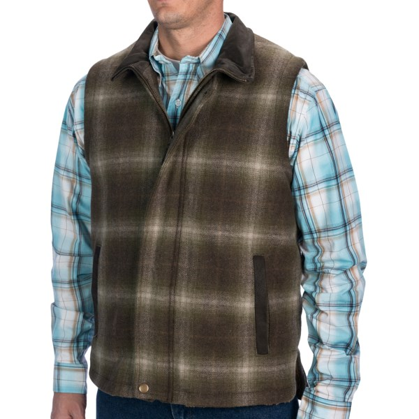 Stetson Wool Blend Vest - Faux-Leather Collar, Sherpa Lining (For Men)