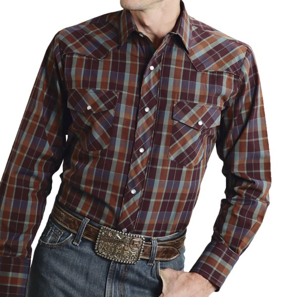 CLOSEOUTS . Roperand#39;s Karman Special plaid shirt features stylish scroll embroidery, contrast piping accents and shiny metallic threads for a dressed-up, formal western look. Available Colors: BLACK/WHITE, WINE, BROWN, RED, BLACK/SILVER. Sizes: S, M, L, XL, 2XL, 3XL.