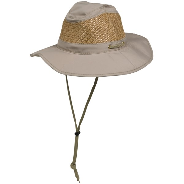 CLOSEOUTS . An updated and rugged hat that keeps the sun and sand out of your face, Cov-verand#39;s Boater outback hat features durable ripstop construction with a ventilating straw crown. Available Colors: SAND. Sizes: S, M, L, XL.