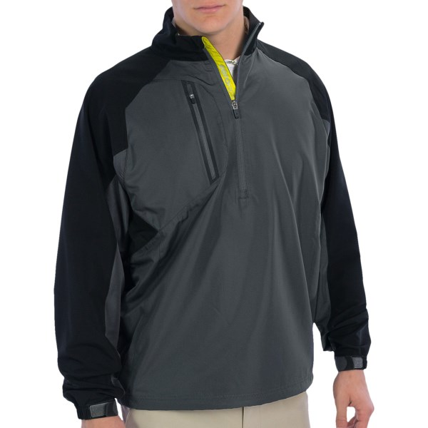 CLOSEOUTS . Zero Restrictionand#39;s Mix wind pullover jacket provides lightweight, breathable weather protection thatand#39;s perfect for the golf course. Stretchy Power Torque back and shoulder panels allow for full mobility and wonand#39;t restrict your swing motion. Available Colors: BLACK, GRAPHITE, WHITE/NAVY. Sizes: S, M, L, XL, 2XL.