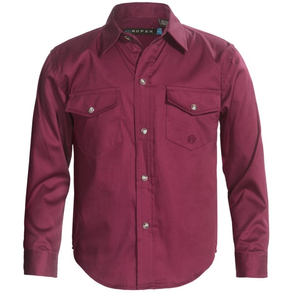 Roper Peached Twill Shirt - Snap Front, Long Sleeve (for Boys)