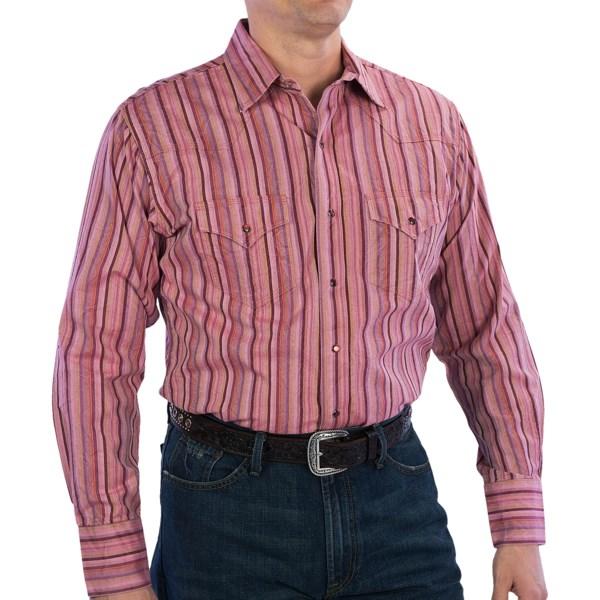 Rancho Estancia Discharged Stripe Western Shirt - Cotton, Long Sleeve (For Men)