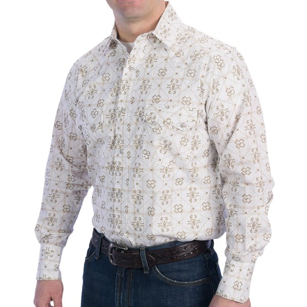 CLOSEOUTS . The sawtooth is a stylish western pocket detail that puts extra pizazz into this Resistol University shirt -- a spirited cotton snap front with plenty of ranch and city appeal. Available Colors: WHITE W/BLUE PAISLEY, WHITE W/TAN CRSS STITCH. Sizes: 2XL, L, M, S, XL.