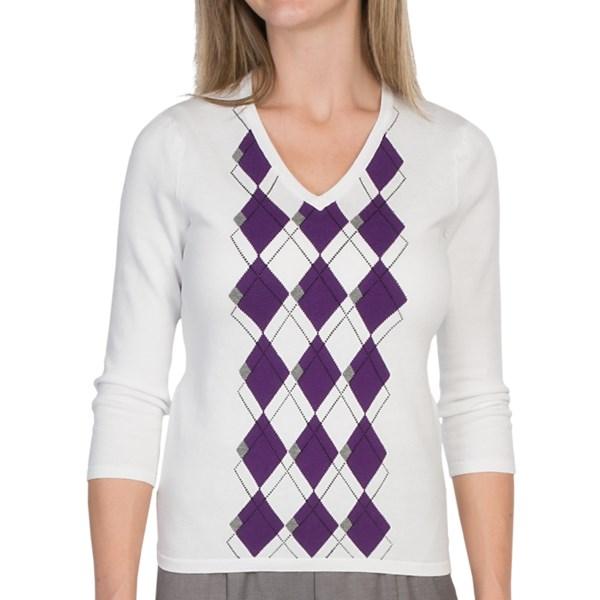 EP Pro Cotton Argyle Sweater - V-Neck, 3/4 Sleeve (For Women)