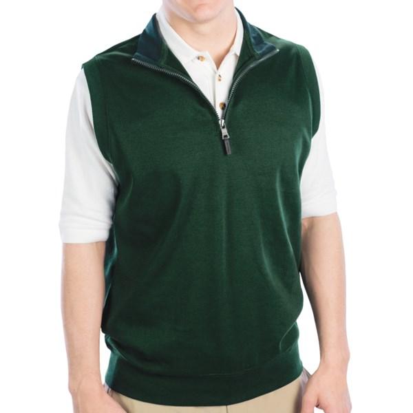 Fairway And Greene Luxury Interlock 1/4 Zip Vest W/ Contrast Collar (for Men)