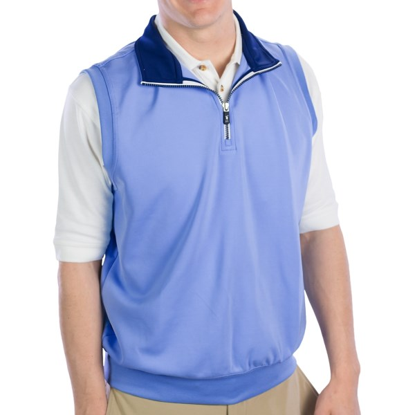 CLOSEOUTS . Supersoft and stretchy tech polyester is designed into the sporty, sleeveless Fairway andamp; Greene Caves tech vest -- the perfect layering companion for blustery, active days and athletic-casual style. Available Colors: HAZE, BALTIC, BLACK, RED, WHITE, NAUTICAL, BLUE CLASSIC, MARINE, SUNSET, BALTIC/BARBERRY, BARBERRY, HOT PINK, NAVY. Sizes: S, M, L, XL, 2XL.