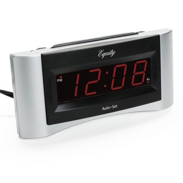 Overstock . Simple, sleek and easy to read -- thatand#39;s Equity by La Crosse Technologyand#39;s Insta-Set digital alarm clock, designed to automatically set the time as soon as you select your time zone. Available Colors: SILVER/BLACK.