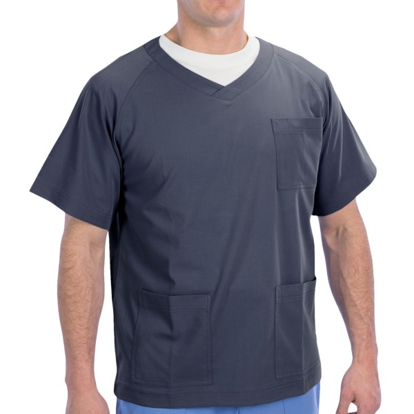 Dansko Douglas V-Neck Scrub Top - 3-Pocket, Short Sleeve (For Men)
