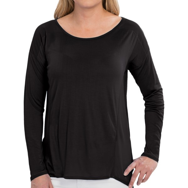 August Silk Rayon Knit Shirt - Sheer Back, Long Sleeve (For Women)