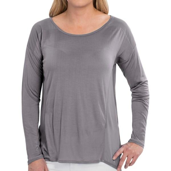 August Silk Rayon Knit Shirt - Sheer Back, Long Sleeve (For Women)